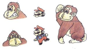 Donkey Kong and Mario Sketch by Shigeru Miyamoto