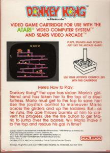Donkey Kong Atari 2600 Box Back