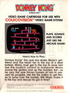 Donkey Kong ColecoVision Box Back