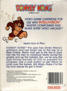 Donkey Kong Intellivision Box Back