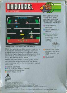 Mario Bros Atari 2600 Box Back
