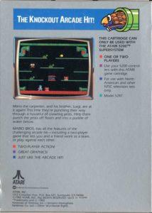 Mario Bros Atari 5200 Box Back