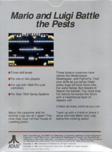 Mario Bros Atari 7800 Box Back