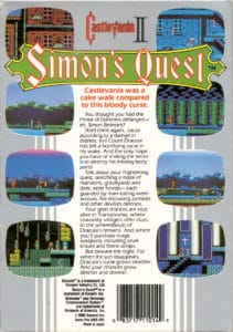 Castlevania Simon's Quest Box Back