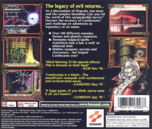 Castlevania - Symphony of the Night Box Back