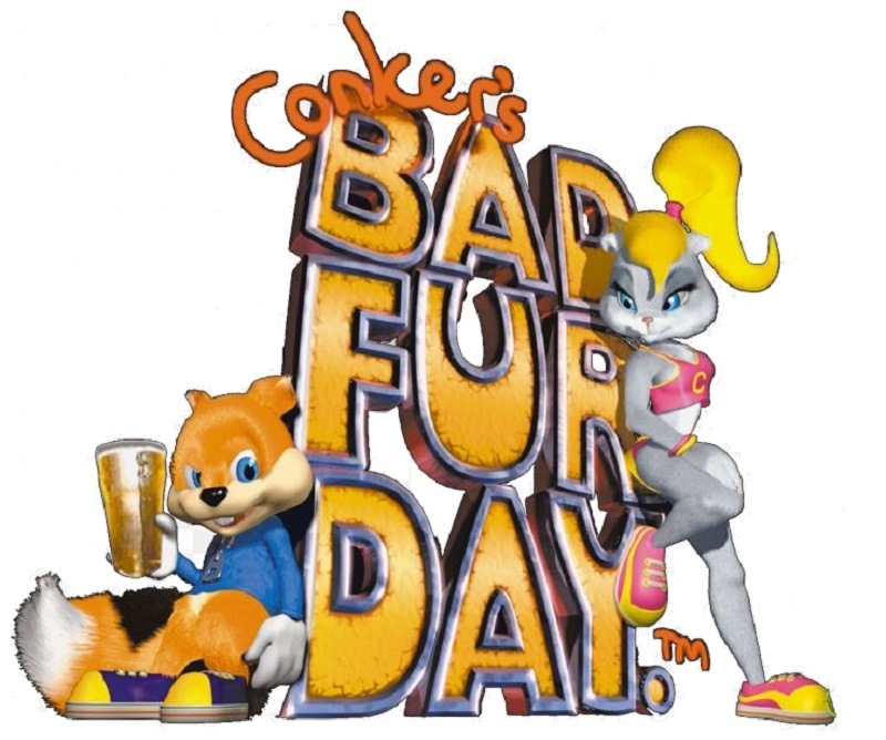 Conker's Bad Fur Day Logo with Characters