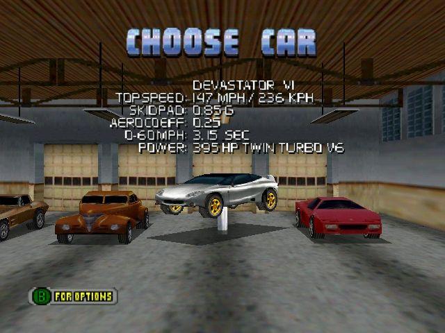 Cruis'n USA - Vehicle Selection