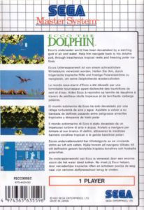 Ecco The Dolphin Sega Master System Box Back