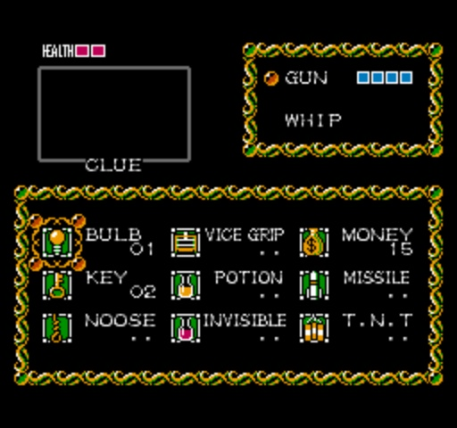 Fester's Quest - Inventory Screen