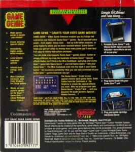 Game Gear Game Genie Box Back