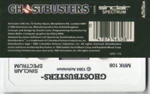 Ghostbusters ZX Spectrum Box Back 2