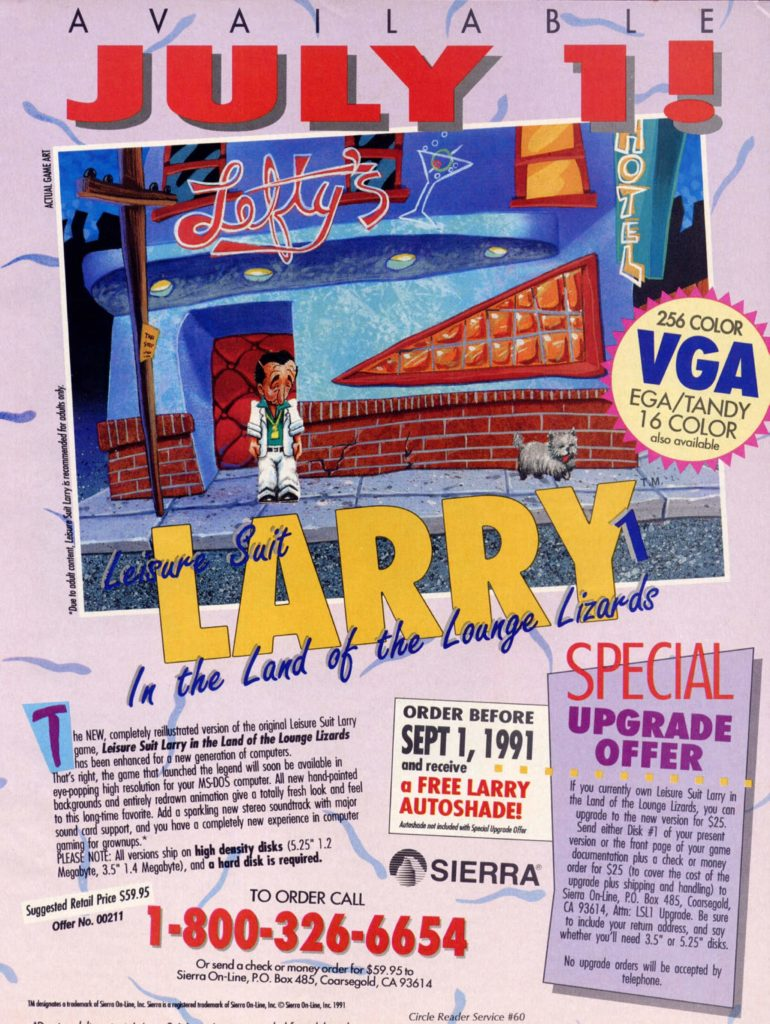 Leisure Suit Larry in the Land of the Lounge Lizards 1991 Remake Ad