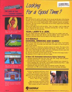 Leisure Suit Larry in the Land of the Lounge Lizards Box Back