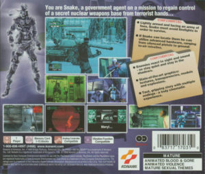 Metal Gear Solid Box Back