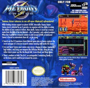 Metroid Fusion Box Back