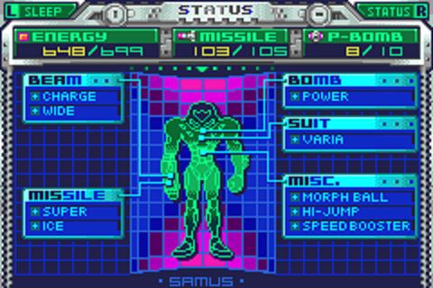 Metroid Fusion - Status Menu