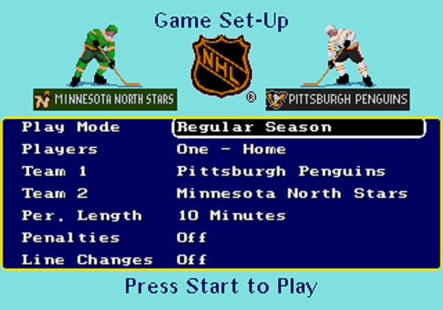 NHL Hockey Game Setup