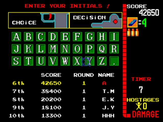 Operation Wolf Arcade - High Score