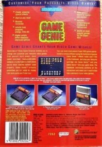SNES Game Genie Box Back