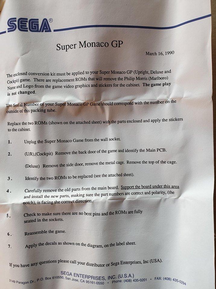 Sege Letter to Arcades