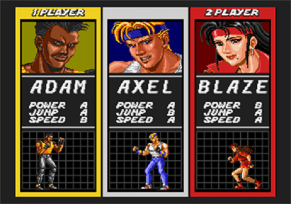 Streets of Rage - Player Select