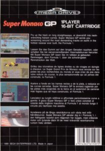 Super Monaco GP Mega Drive Box Back