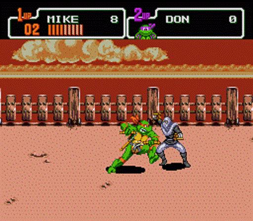 TMNT The Hyperstone Heist - Michaelangelo fighting a foot soldier