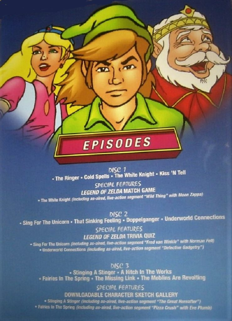 The Legend of Zelda Animated Series DVD Box Inside Cover