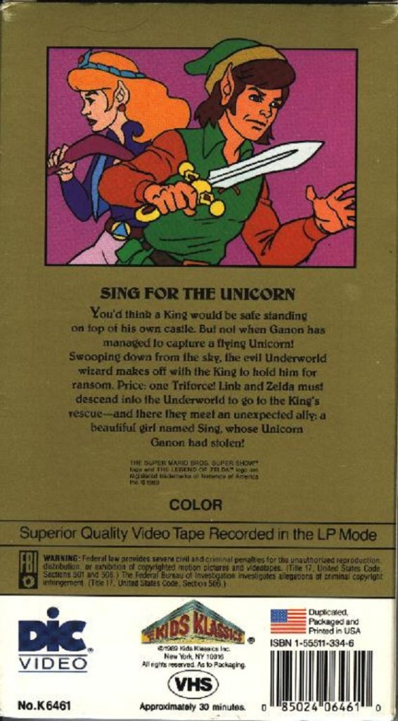 The Legend of Zelda Animated Series VHS 2 Back