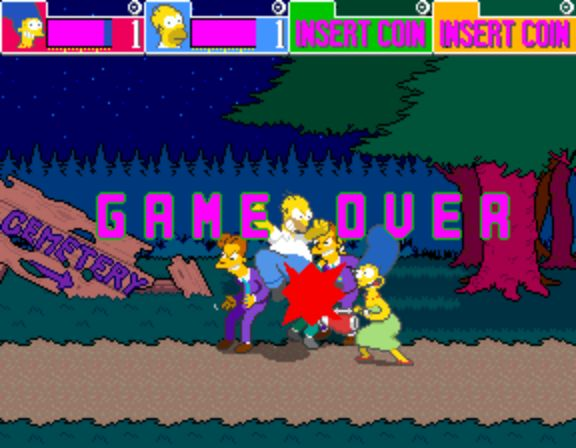 The Simpsons Arcade Game - Game Over
