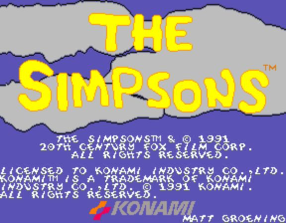 The Simpsons Arcade Game - Title Screen