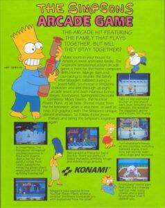The Simsons Arcade Game DOS Box Back