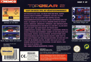 Top Gear 2 European SNES Box Back