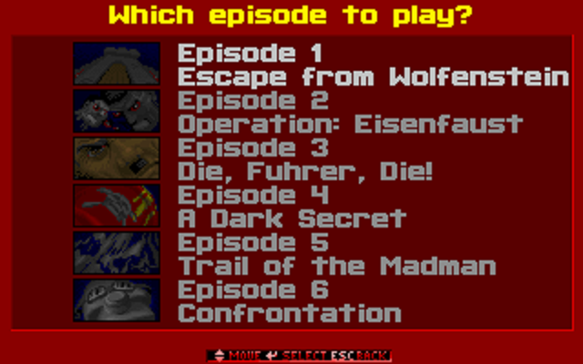 Wolfenstein 3D - Episode Selection