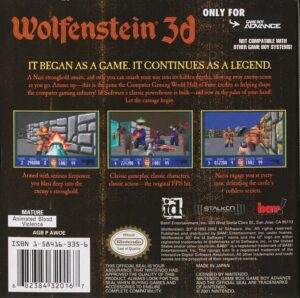 Wolfenstein 3D Game Boy Advance Box Back