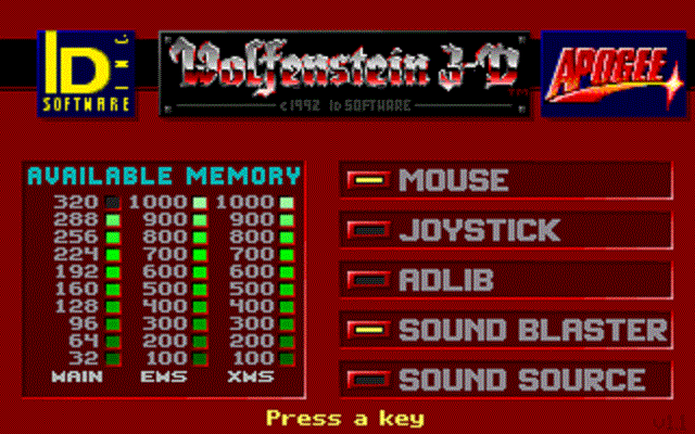 Wolfenstein 3D - Menu Screen
