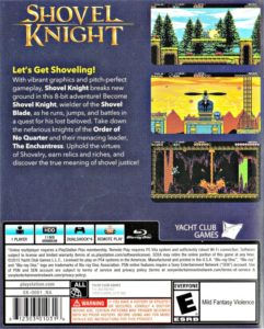 Shovel Knight PlayStation 4 Box Back