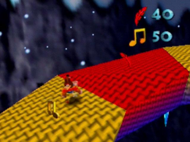 Banjo-Kazooie Climbing a Snowman's Scarf
