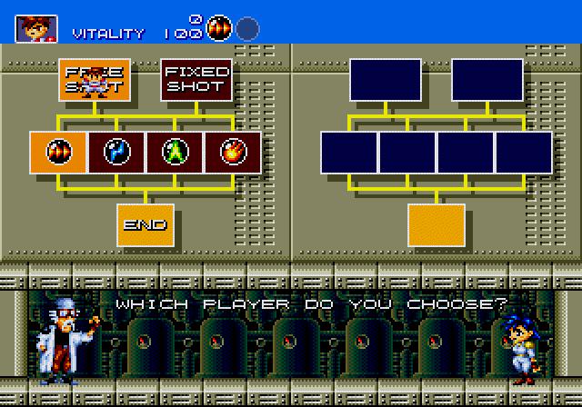 Gunstar Heroes Player Select Screen