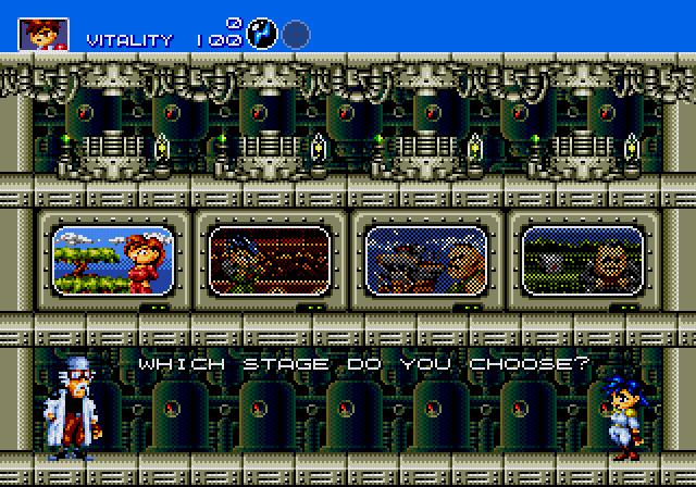 Gunstar Heroes Stage Select Screen