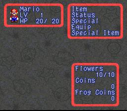 Super Mario RPG Status Screen