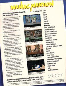 Maniac Mansion Apple II Box Back