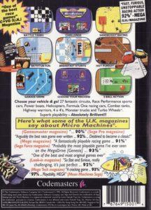 Micro Machines Genesis Box Back