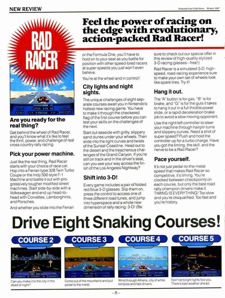 NIntendo Fun Club Rad Racer