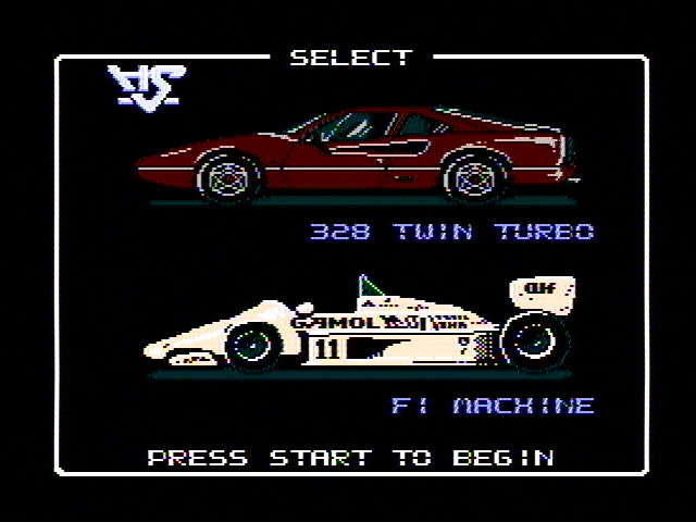 Rad Racer Vehicle Select