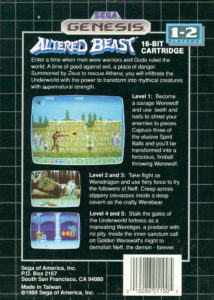 Altered Beast Genesis Box Back