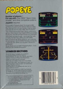 Popeye Atari 2600 Box Back