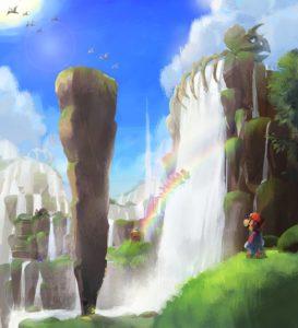 Super Mario Odyssey Concept Art - Waterfall