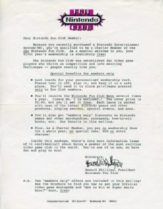 Nintendo Fun Club Letter
