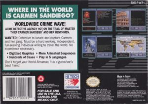 Where in the World is Carmen Sandiego Super Nintendo Box Back